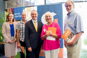 Photograph from Amy Gillett Foundation: L to R, CEO Tracey Gaudry, Patron Simon Gillett, Premier Jay Weatherill and Amy's parents Mary and Denis Safe